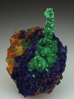 Stalactite velvety green Malachite on crystals of Azurite. From the Christiana Mine