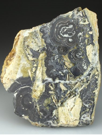 A polished specimen showing the banded structure of Native Arsenic and Stibarsen. From the Adami No2 Mine, Plaka.